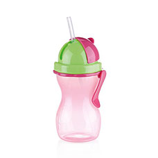 Детская бутылочка с трубочкой BAMBINI 300мл, зеленый, розовый Tescoma 668172.53Tescoma для детей<br><br>