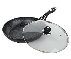 Сковорода Bekker BK-3767 24см с мраморным покрытием с крышкойСковороды антипригарные<br><br>