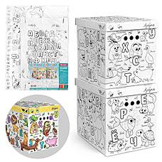 Короб-раскраска картонный Азбука Valiant KCTN-RS-2M (2шт, 28x38x31 см)хранение вещей и игрушек<br><br>