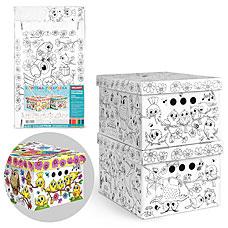 Короб-раскраска картонный Птички Valiant KCTN-RS-2S (2шт, 25x33x18 см)хранение вещей и игрушек<br><br>
