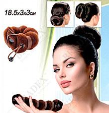 Валик для волос для создания прически Пучок коричневый, 18,5х3х3см Bradex KZ 0359Заколки для волос<br><br>