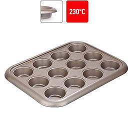 Форма для 12 маффинов, стальная, антипригарная, 38х29,5х3,5 см Nadoba 761017формы для выпечки<br><br>