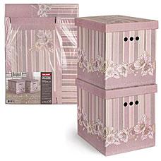 Короб картонный, складной,большой, 28x38x31.5 см, набор 2 шт, Romantic Flowers Valiant RM-BCTN-FL-2MТовары для гардероба<br><br>