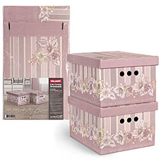 Короб картонный, складной, малый, 25x33x18.5 см, набор 2 шт, Romantic Flowers Valiant RM-BCTN-FL-2SТовары для гардероба<br><br>