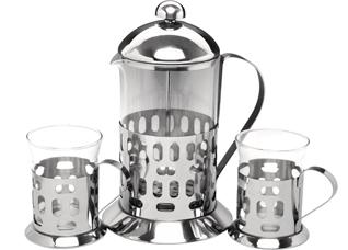Френч-пресс для чая и кофе Queen Ruby 8496 800 мл. ( + 2 стакана 200 мл.)Заварочные чайники<br><br>