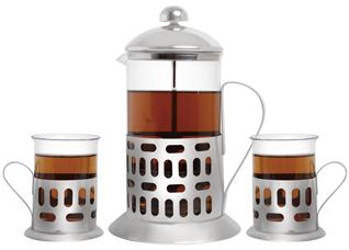 Френч-пресс для чая и кофе Queen Ruby 9009 350 мл. ( + 2 стакана 200 мл.)Заварочные чайники<br><br>