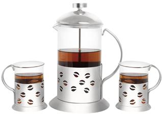 Френч-пресс для чая и кофе Queen Ruby 9010 350 мл. ( + 2 стакана 200 мл.)Заварочные чайники<br><br>