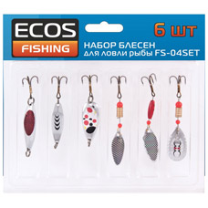 Набор блесен для ловли рыбы 6 шт Ecos FS-04SETДля рыбалки<br><br>